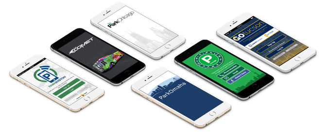 six mobile phones with Passport Parking app on the screen