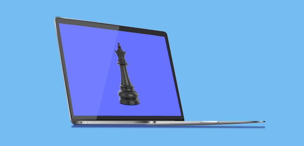 chess piece on laptop screen