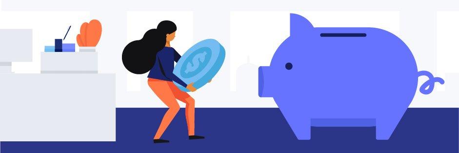 coverwallet vs. embroker piggy bank illustration