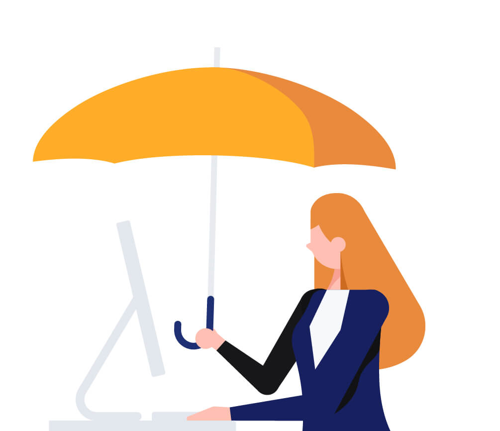 woman with umbrella insurance illustration