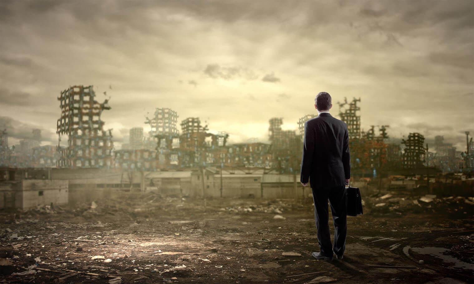 Man standing in ruins