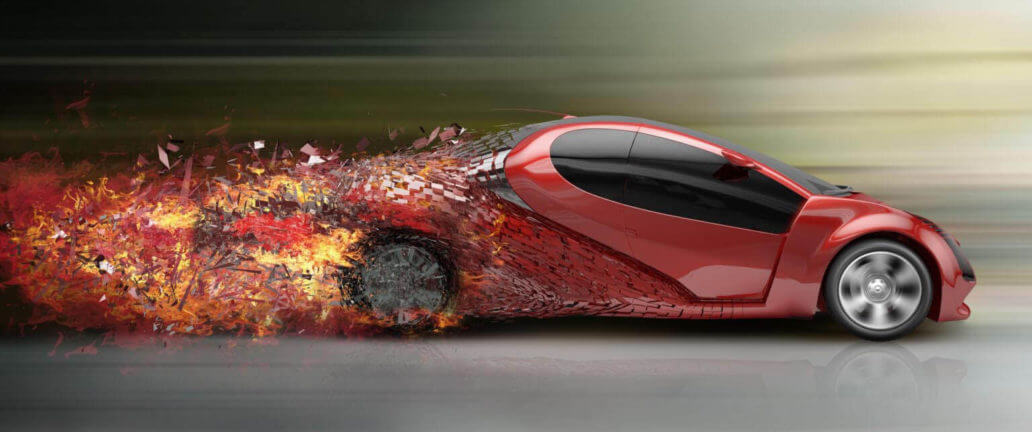 red burning supercar
