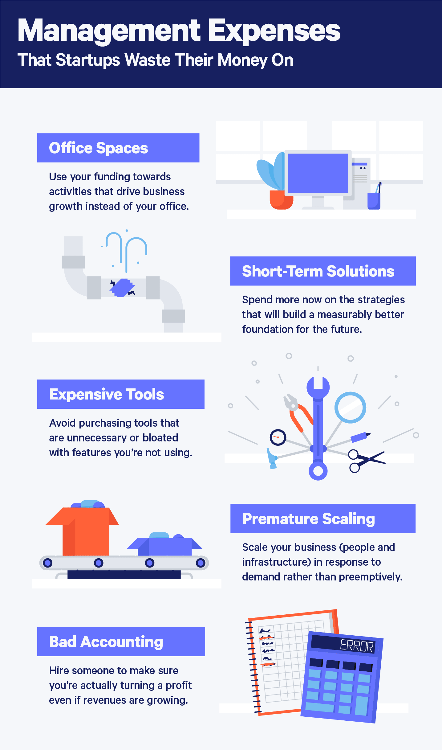 management expenses that startups waste their money on illustrations