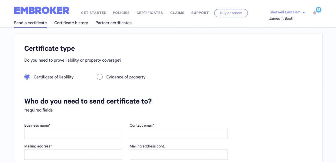 Send a COI screenshot