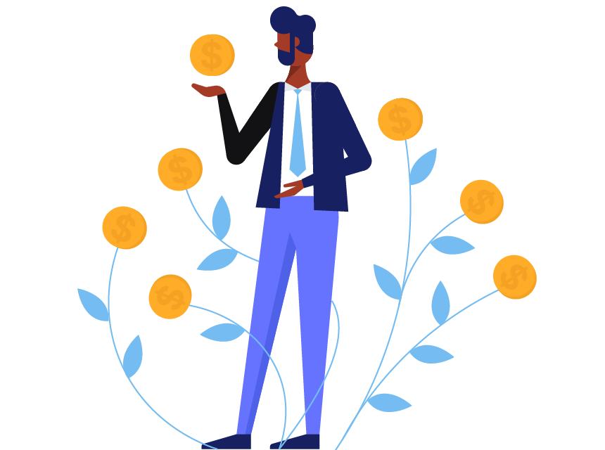 A man holding a coin and standing next to leaves with gold coins sprouting from the top