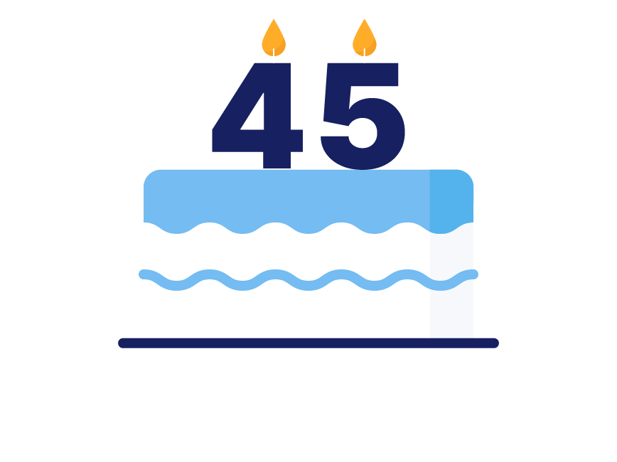 A cake with candles that say 45.