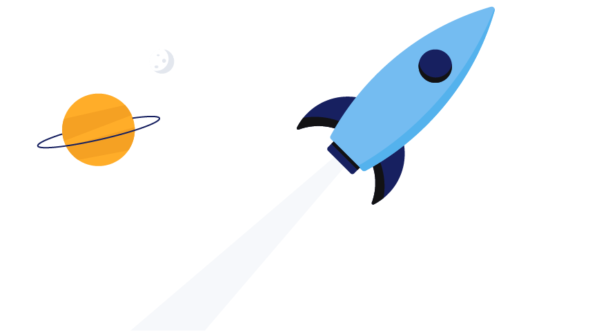 A rocket ship and planets