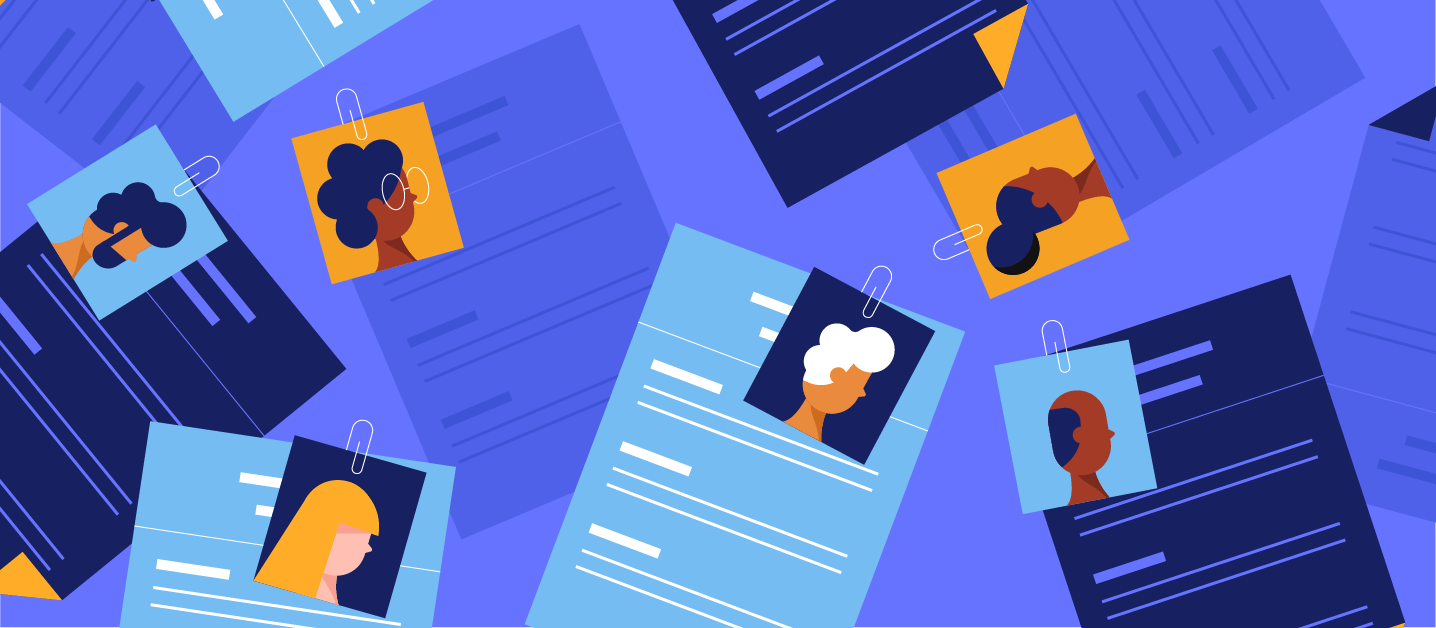 Illustration of blind hiring resumes