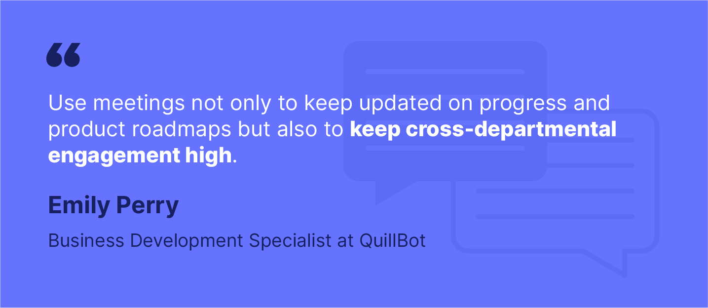Startup quote on cross-departmental engagement