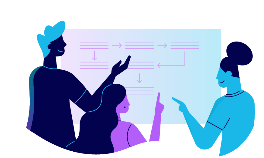 A team of coworkers gathered around a whiteboard. Illustration.
