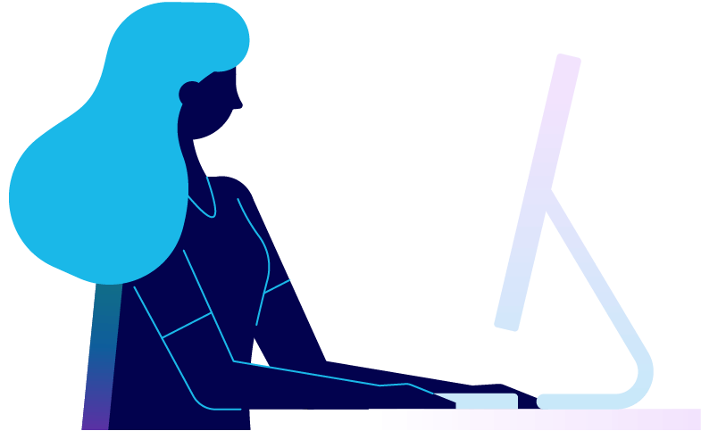 A person sitting at their desk in from of a computer. Illustration