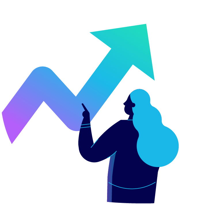 Woman pointing to a large arrow that points upward. Illustration.