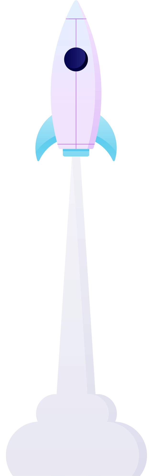 A rocket ship launching with steam underneath it. Illustration