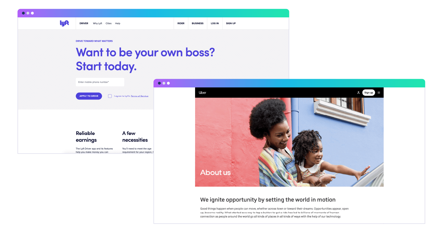 Lyft and Uber landing pages