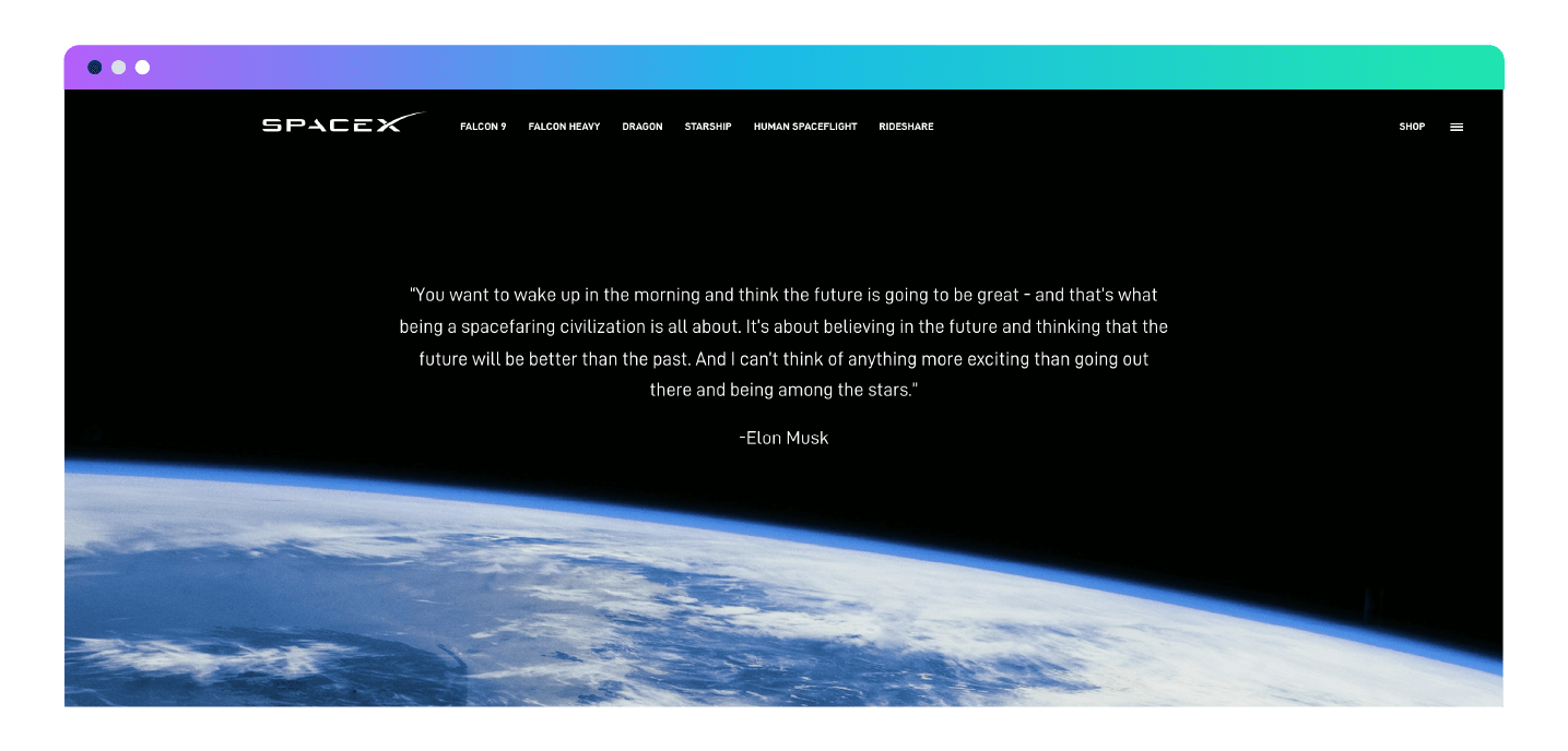 SpaceX landing page mission statement