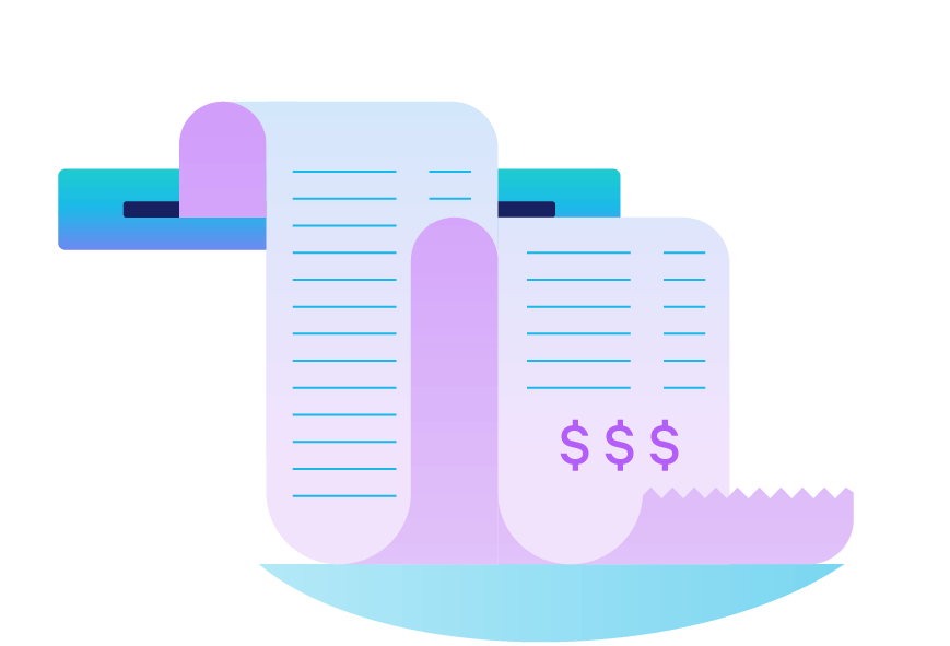 A long receipt showing business expenses. Illustration.