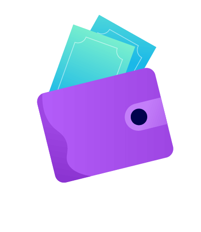 A wallet with paper money sticking out. Illustration.