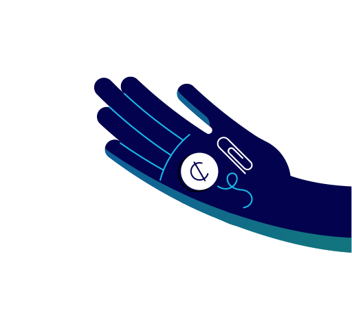 A hand holding a paperclip, string, and a penny. Illustration