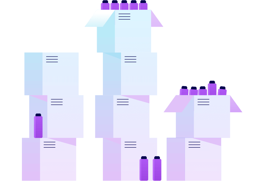 Towers of boxes full of unused products. Illustration