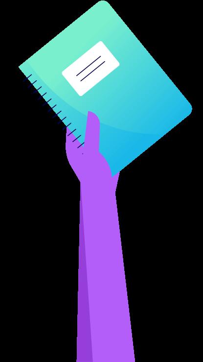 An arm holding a spiral notebook. Illustration