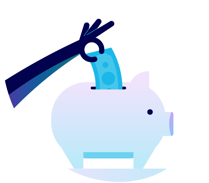 A person putting money into a gigantic piggy bank. Illustration.