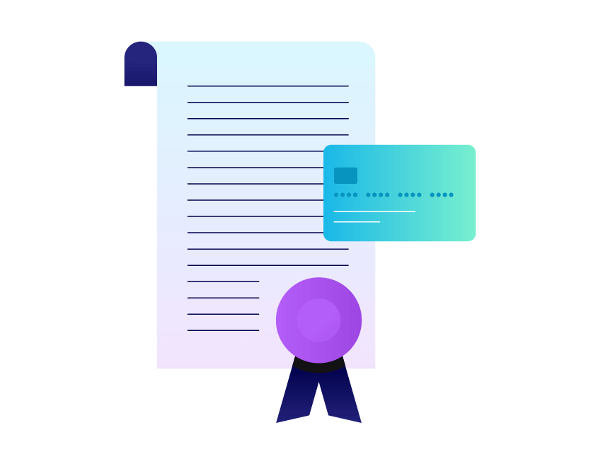 A credit card and a loan certificate. Illustration.