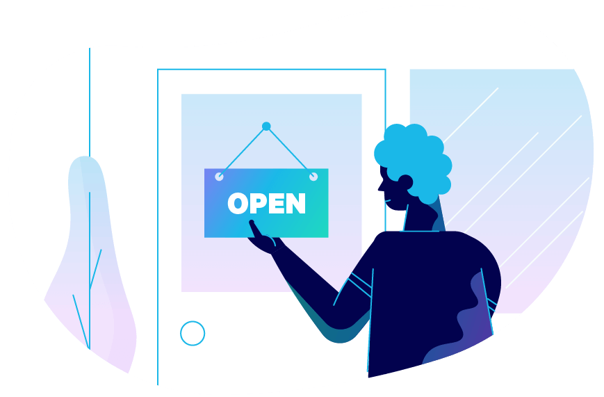 A person hanging an oversized sign that says Open. Illustration