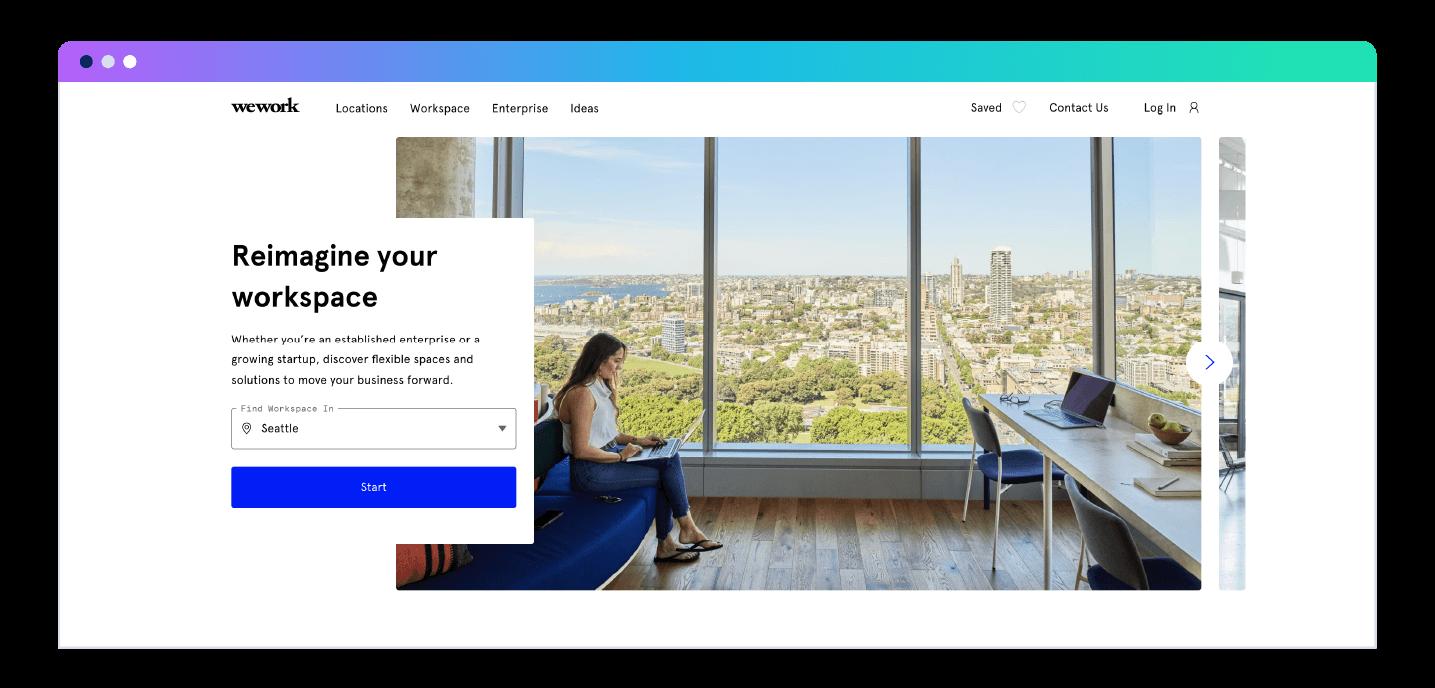WeWork landing page