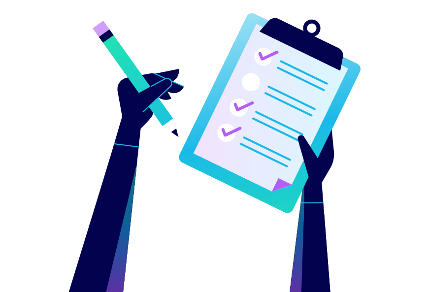 A person holding a clipboard with a checklist. Illustration.