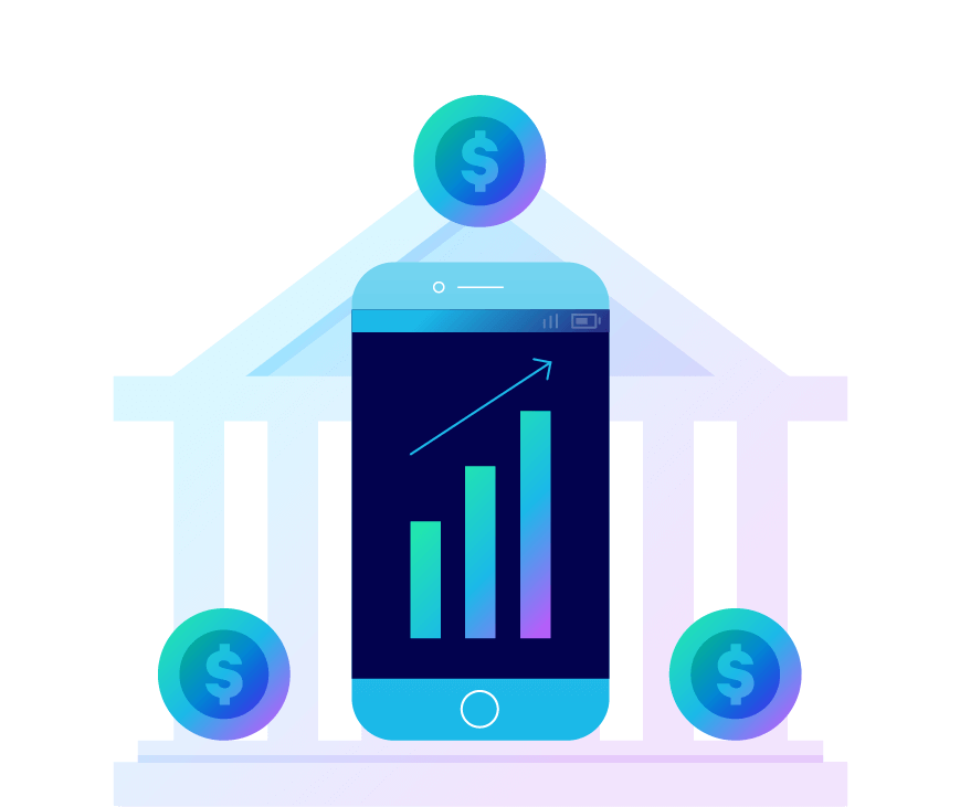 A giant smartphone next to a bank with coins around it. Illustration.