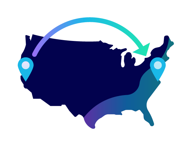 A map of the united states with an arrow pointing from California to New York. Illustration.