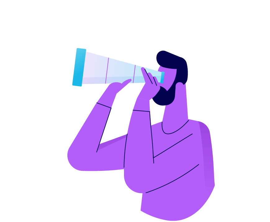 A person looking through an oversized telescope. Illustration
