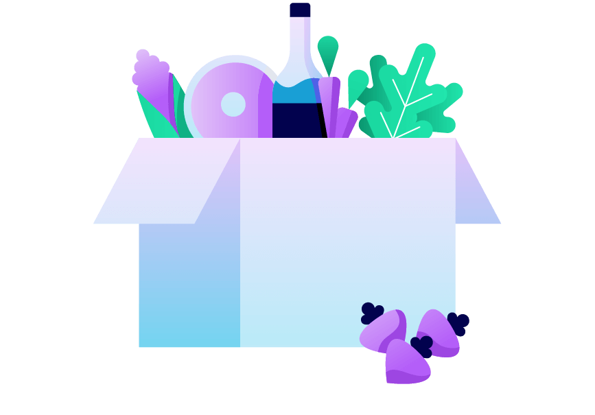 A box of fruits and vegetables