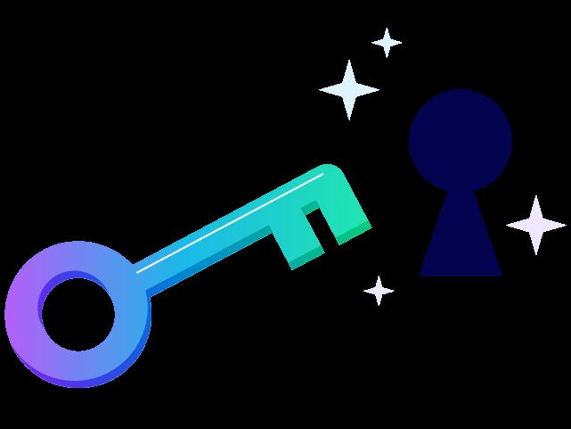 A key and a lock hole. Illustration.