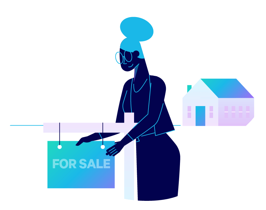 A realtor hands a for-sale sign near a home. Illustration