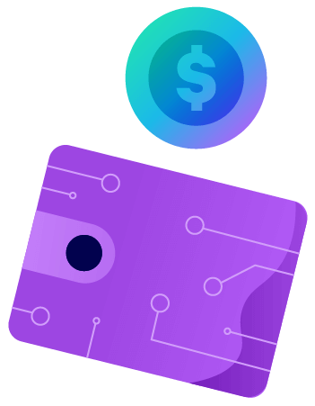 A wallet and a coin. Illustration.