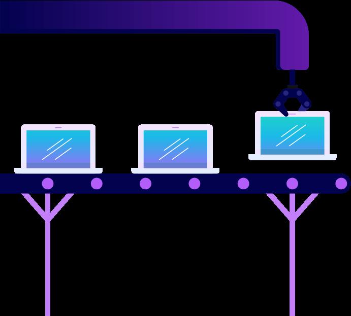 Laptops on a factory converyor belt. Illustration